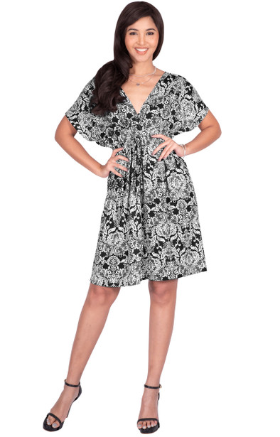 Short Sleeve Caftan Kaftan Tunic Top Summer Mini Dress - JK002_A043