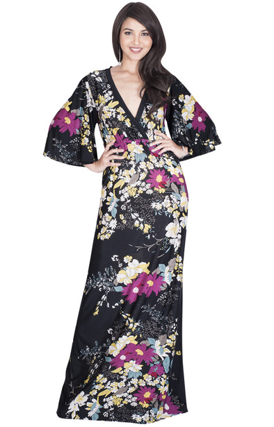 Long Casual 3/4 Sleeve Floral Print Summer Maxi Dress - NT188_A019