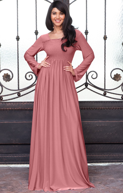 Elegant Long Sleeve Modest Smocked Casual Tall Maxi Dress Gown - NT301
