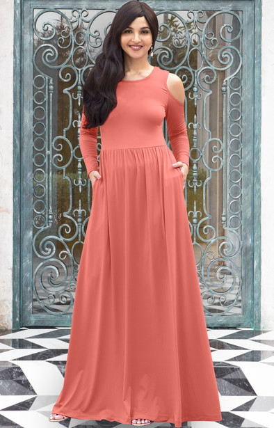 KOH KOH Long Sleeve Cold Shoulder A-line Sundress Maxi Dress Gown - NT372