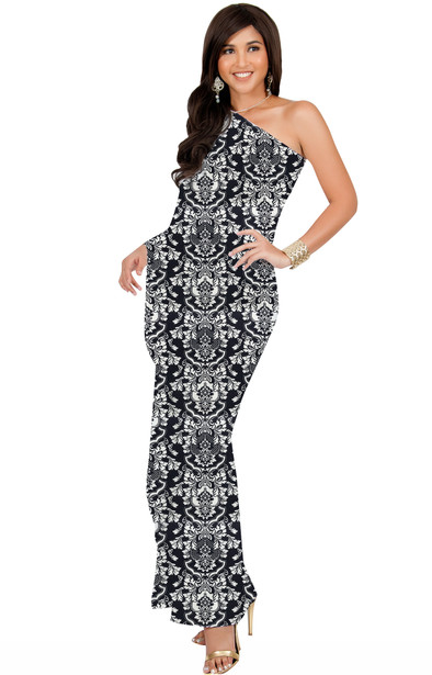 KOH KOH Womens Long One Shoulder Semi Formal Cocktail Evening Print Maxi Dress - NT169_A039