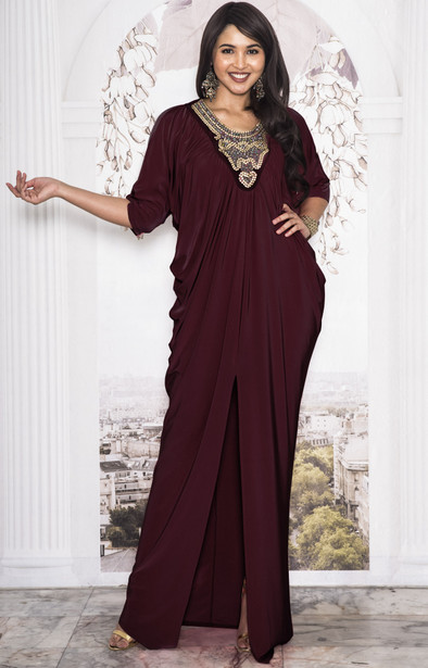 KOH KOH Womens Long Abaya Moroccan Boutique Maxi Dress Gown - NT146