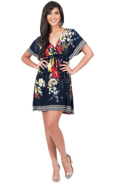 KOH KOH Floral Print Kimono Summer Mini Dress - DAN002