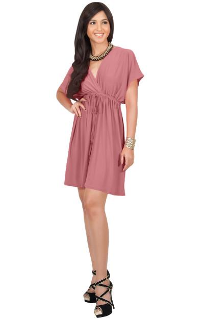 KOH KOH Cover-Up Short Sundress Cheap Mini Dress - JK002