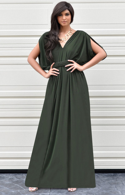 KOH KOH Sleeveless Grecian Flowy Gown Maxi Dress - NT020