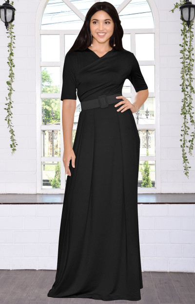 Long Dressy Short Sleeve Flowy Wrap Modest Day Maxi Dress Gown - NT077