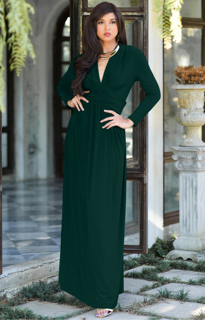 KOH KOH Long Sleeve Vintage Elegant Maxi Dress - NT107