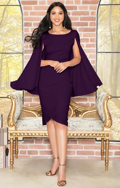 Dressy Cape Cloak Semi Formal Knee Length Evening Midi Dress - NT115