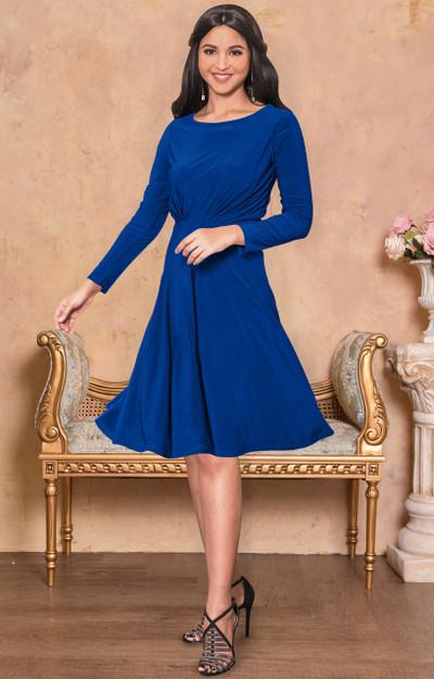 Flowy A-line Long Sleeve Casual Knee Length Swing Midi Dress - NT156