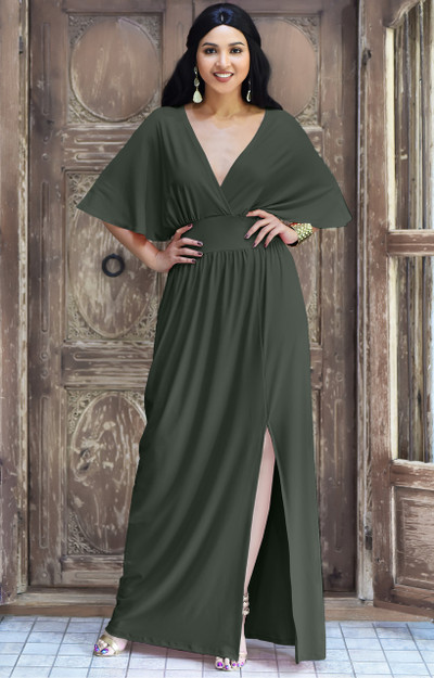 Dressy Long Sexy Slit Short Sleeve Bridesmaid Maxi Dress Gown - NT164
