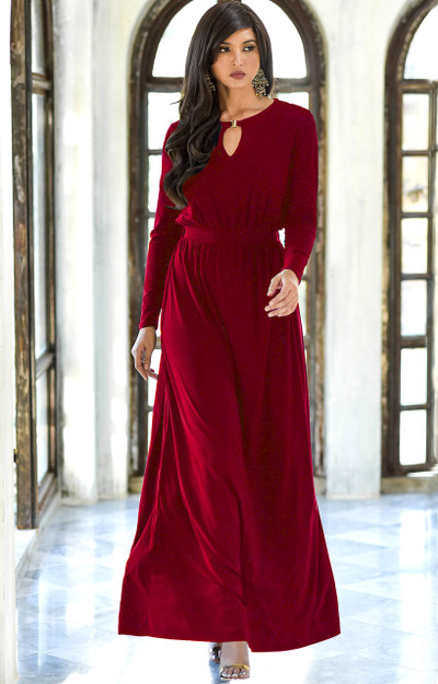 KOH KOH Long Sleeve Modest Formal Maxi Dress - NT174