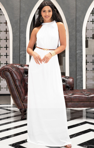 KOH KOH Sleeveless Summer Flowy Belted Maxi Dress - NT244