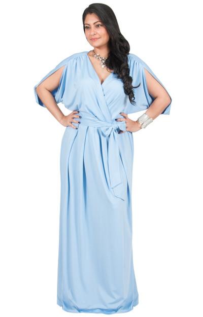 A&V Plus Size V-Neck Short Sleeves Maxi Dress - AV026