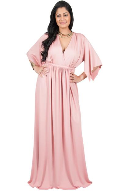 A&V Plus Size V-Neck Kaftan Sleeve Maxi Dress - AV061