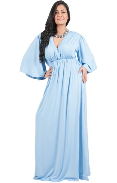 A&V Plus Size Kimono Sleeve V-Neck Maxi Dress - AV188