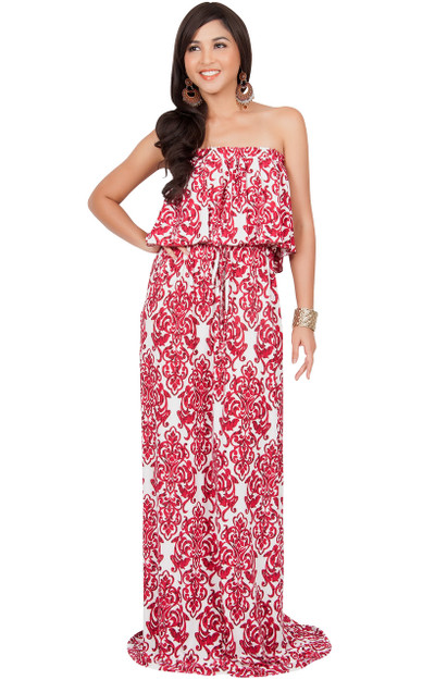 KOH KOH Strapless Print Sexy Summer Maxi Dress - MDL007_A023