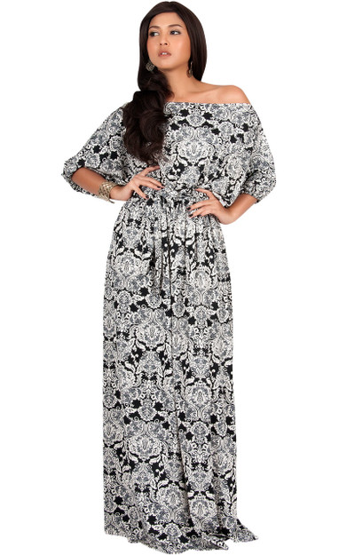 KOH KOH One Shoulder Printed ¾ Sleeve Maxi Dress - NT001_A043