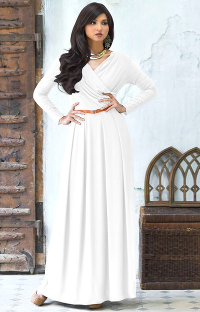 KOH KOH Long Sleeves V-Neck Flowy Maxi Dress - NT021