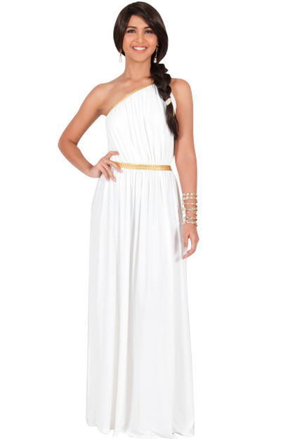 KOH KOH Sexy One Shoulder Golden Braid Maxi Dress - NT142