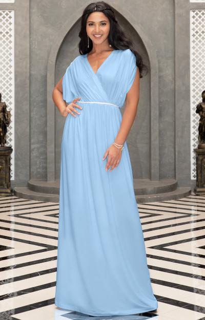 Grecian Short Sleeve Empire Waist Maternity Long Maxi Dress Gown NT144