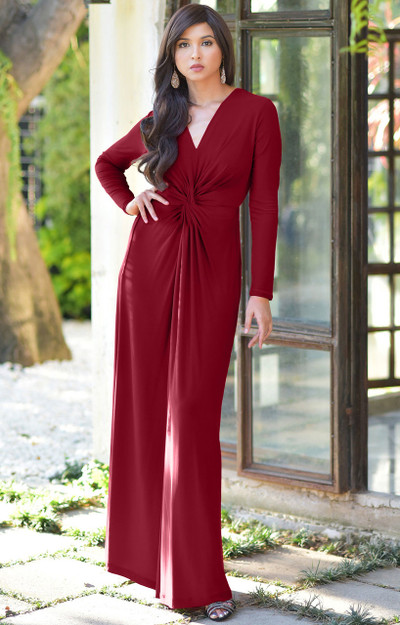 KOH KOH Long Sleeve V-neck Cocktail Maxi Dress - NT171