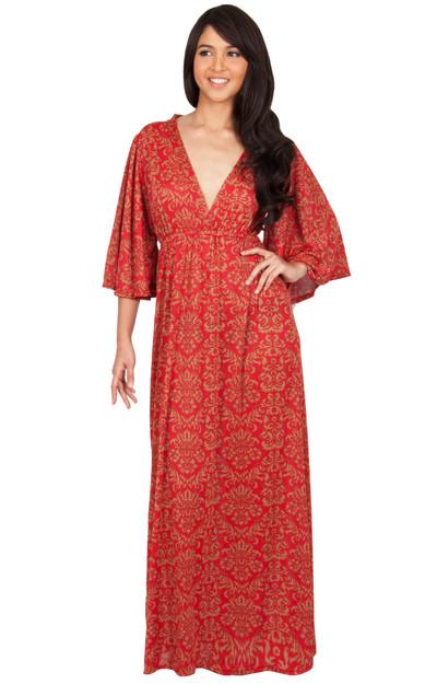 KOH KOH Long Kimono Sleeve Printed Maxi Dress - NT180