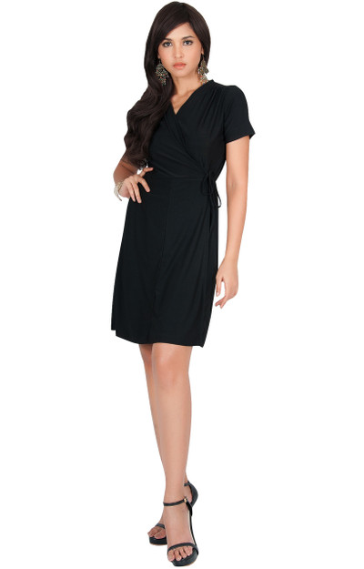 KOH KOH Cute Wrap Short Sleeve Modest Midi Dress - NT259
