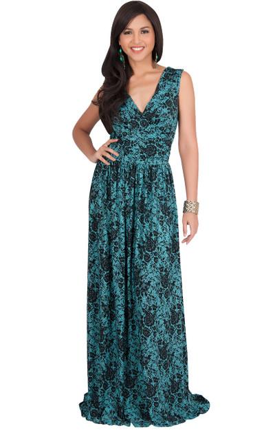 KOH KOH Sleeveless Floral Print Lace Maxi Dress - NT022_A036
