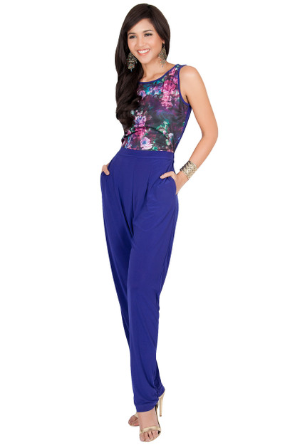 KOH KOH Long Sleeveless Floral Party Jumpsuit - NT261_A038