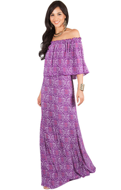 KOH KOH Bohemian Off Shoulder Summer Maxi Dress - NT271_A020