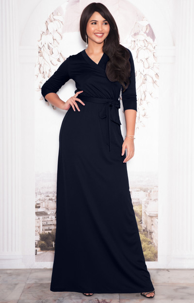 KOH KOH 3/4 Sleeve V-Neck Belt Evening Maxi Dress - NT312