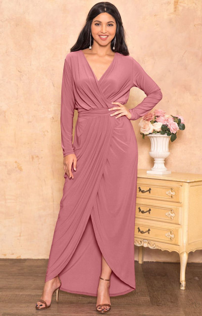 Long Sleeve Elegant Evening Fall Sexy Slit Maxi Dress Gown - NT292