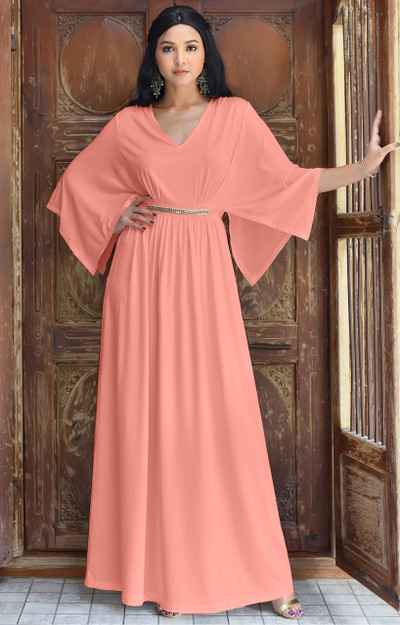 Long Flowy Short Sleeve Modest Caftan Kaftan Maxi Dress Gown - NT320
