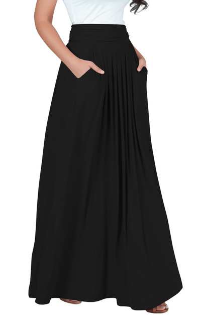 KOH KOH Long Vintage Work Office Flowy Maxi Skirt - NT325