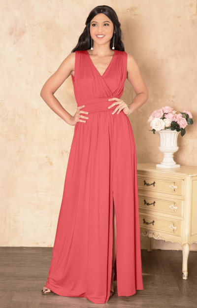 KOH KOH Long Sleeveless Bridesmaid Maxi Dress Gown - NT304