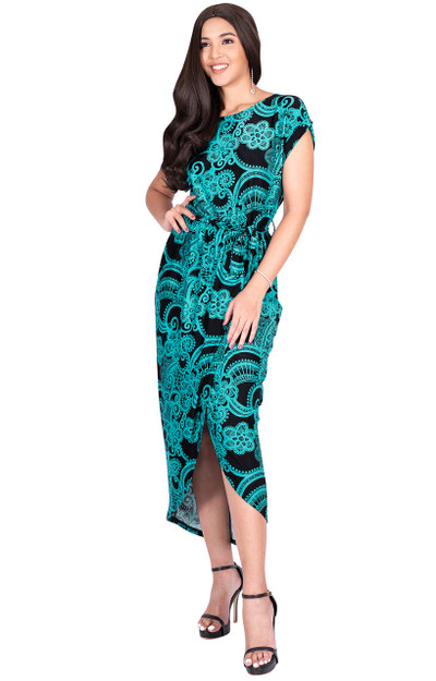 KOH KOH Long Print Modest Casual Short Sleeve Midi Maxi Dresses - NT322_A016