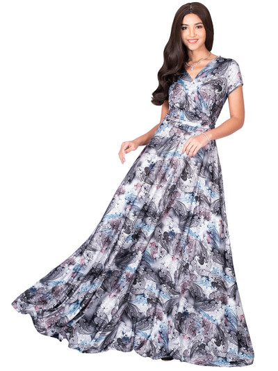 KOH KOH Long Floral Printed Short Sleeve V-Neck Maxi Dress Gown - NT074_B001