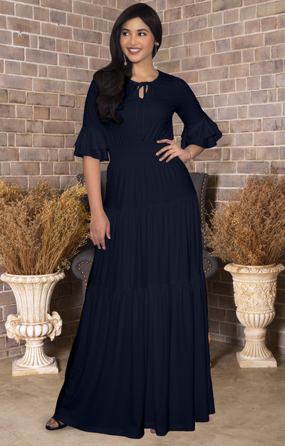Long 1/2 Sleeve Flowy Casual Modest Peasant Maxi Dress Gown - NT295