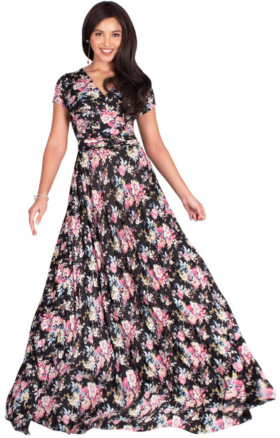 Long Floral Print Short Sleeve Modest Maxi Dress Gown - NT074_A024