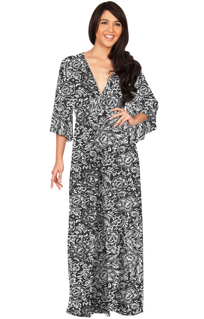 KOH KOH Women's Kimono Sleeve V-Neck Flower Print Long Maxi Dress