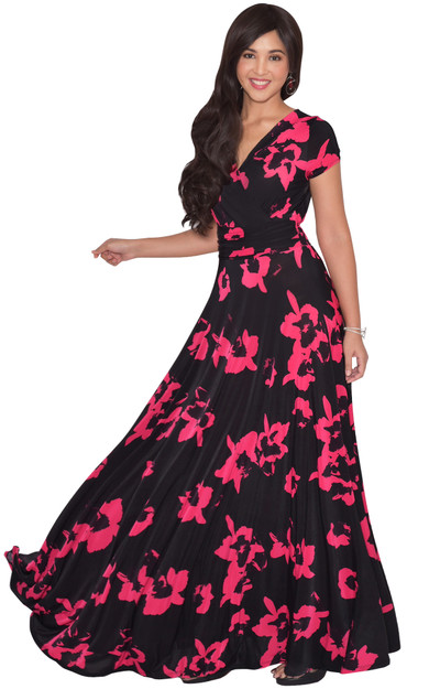 KOH KOH Womens Flower Print Summer Long Casual Maxi Dress - NT074_A022