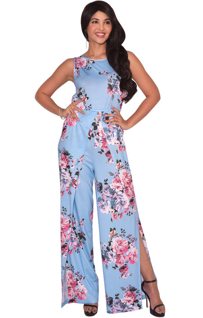 KOH KOH Womens Floral Pattern Long Pants Jumpsuit - NT147_B105