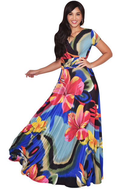 KOH KOH Womens Hawaii Summer Floral Print Long Maxi Dress - NT074_A002