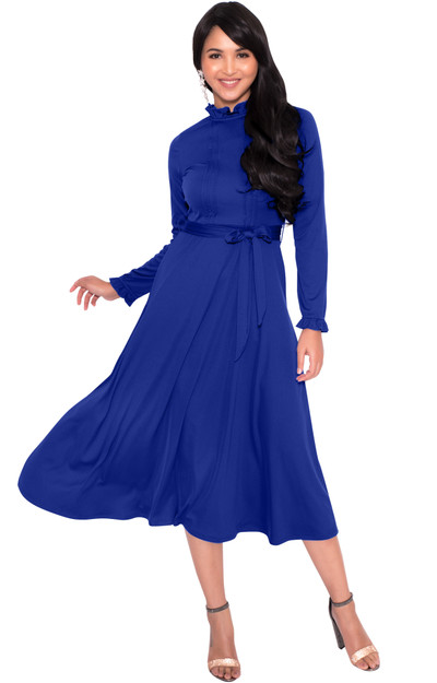 KOH KOH Womens Long Sleeve Classic Modest Evening Knee Length Tall Midi Dress - NT356