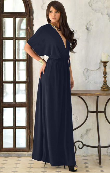 KOH KOH Long Kimono Summer Vneck Party Maxi Dress - FN0061