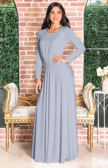 07458e3ee529 ... Long Sleeve Flowy Modest Empire Waist Maxi Dress Gown Abaya - NT009 ...