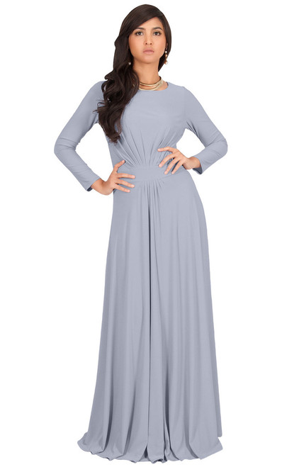 Long Sleeve Flowy Modest Empire Waist Maxi Dress Gown Abaya Nt009