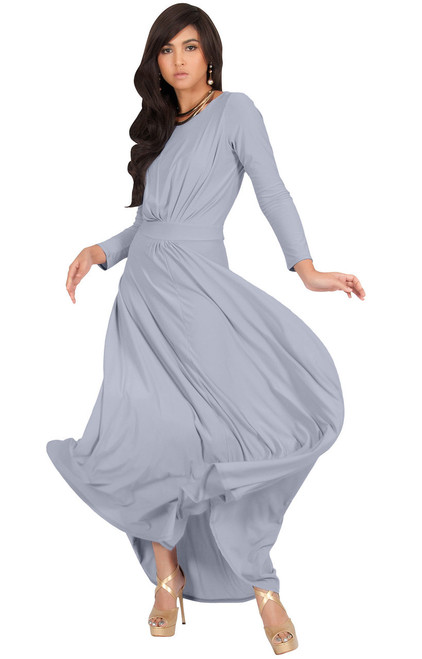 ea34326fbe ... Long Sleeve Flowy Modest Empire Waist Maxi Dress Gown Abaya - NT009 ...