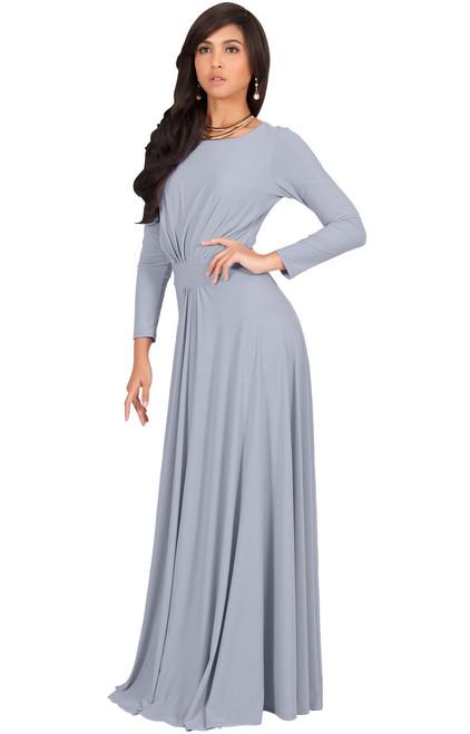 38a89bf5c29d ... Long Sleeve Flowy Modest Empire Waist Maxi Dress Gown Abaya - NT009 ...