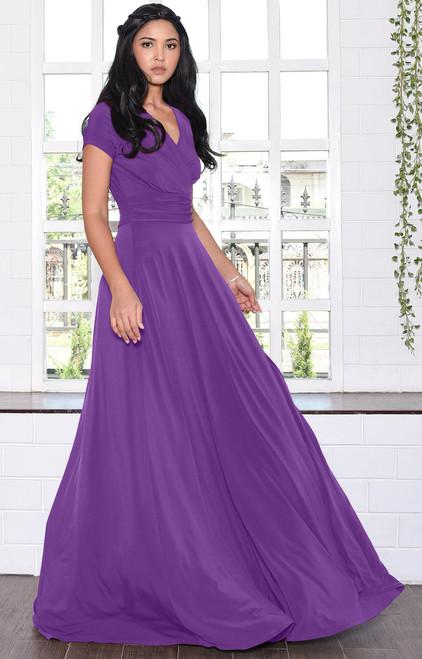KOH KOH Cap Short Sleeve V-Neck Flowy Maxi Dress - NT074